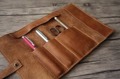 Leather Pen Sleeve Roll Leather Watch Roll by eLeatherDesign