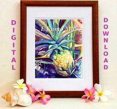 Pineapple Digital Art Prints 8x10 and 5x7 printable wall art E
