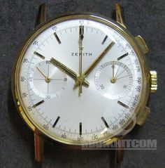 Zenith Pilot Chronograph Tachymeter 18k 750 solid yellow Gold Cairell type Watch Cal.146 dp 60's