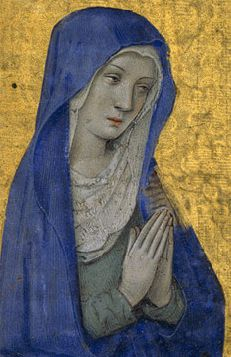 Jean Bourdichon of Tours, The Annunciation from a Book of Hours (detail), 1485–90, Metropolitan Museum of Art