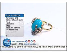 6.15 ct Turquoise Cabochon Oval & 0.63 ctw Diamond & Tsavorite Garnet 18K Yellow Gold Ring, Size 7