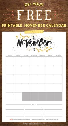 Happiness is... November 2015 Free Printable Calendar and Planner