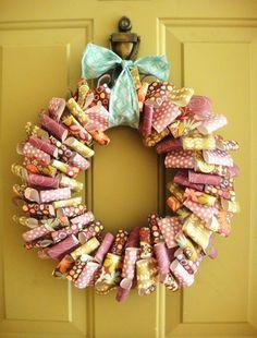 scrapbook paper wreath :)
