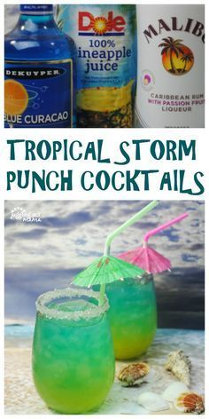 Enjoy a taste of the tropics with this Tropical Storm Punch Cocktail. It's a delicious cocktail made with passion fruit rum, blue curacao, pineapple juice, and my secret ingredient! These tropical storm punch cocktails are both beautiful and delicious! Rum Cocktails, Liquor Drinks, Cocktail Drinks, Tequila Drinks, Bourbon Drinks, Drink Party, Beach Party Drinks, Alcohol Drink Recipes, Alcoholic Punch Recipes