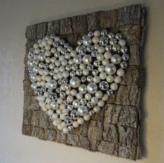 made with bark, moss under , pearls and hot glue - home decorations Button Art, Button Crafts, Christmas Time, Christmas Crafts, Xmas, Diy And Crafts, Crafts For Kids, Arts And Crafts, Mosaic Projects