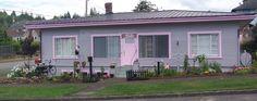 Gray house, pink trim, pink front door.  A bit better.