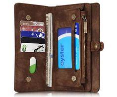 CaseMe 008 iPhone 7 Plus Zipper Wallet Detachable 2 in 1 Retro Flannelette Leather Folio Case Brown