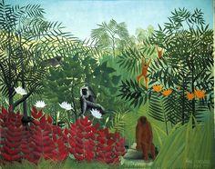 Henri Rousseau , tropical forrest with monkeys 1909