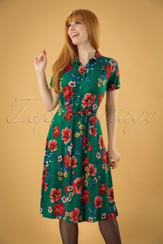 87adbde6be0385 60s Olive Melrose Dress in Fern Green