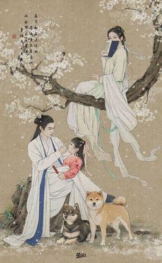 Korean Painting, Chinese Painting, Pop Art Drawing, Art Drawings, Oriental, Japon Illustration, Art Through The Ages, Korean Art, China Art
