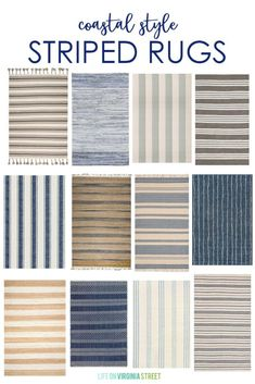 Coastal Style Striped Rug Ideas A collection of coastal style striped rugs that add a beachy charm to any indoor or outdoor space! The perfect place to find the coastal rug you've been looking for. Coastal Rugs, Coastal Bedrooms, Coastal Living Rooms, Coastal Homes, Coastal Decor, Coastal Interior, Coastal Inspired Rugs, Nautical Interior, Cottage Bedrooms