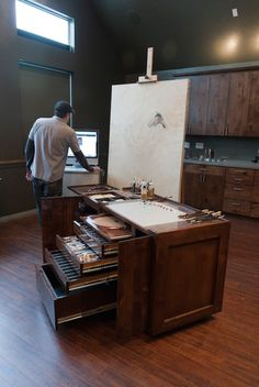 Some painters use easels, others prefer what is colloquially referred to as a taboret. This combination worksurface and storage unit, A studio taboret is storage furniture for a fine artist, sometimes topped with an easel or worksurface. Painter Casey Childs was dissatisfied with the taborets on the market—units sold