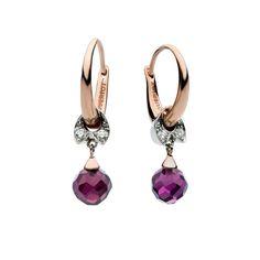 PONDICHERRY QUERIOT orecchini earrings pendant oro rosa oro bianco gold rose white jewellery gioiello fashion luxury ametista violet