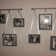 Hanging Pictures with Ribbon {Photo Wall}    Do this in the hallway???