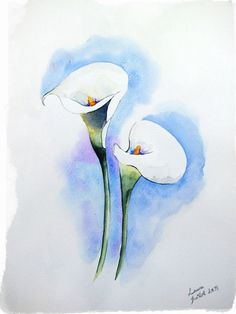 Aquarelles | Draw Me A Cat | Page 3 Watercolor Projects, Abstract Watercolor, Watercolor Flowers, Watercolor Paintings, Lily Painting, Watercolor Pictures, Painting Inspiration, Flower Art, Art Drawings