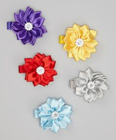 Take a look at this Red & Purple Rhinestone Flower Clip Set by Picki Nicki Hair Bowtique on #zulily today!