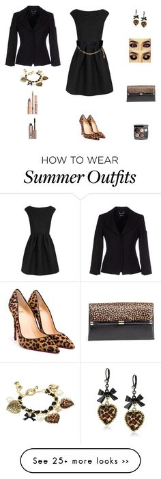 """Contest: Black & Leopard Chic Outfit"" by billsacred on Polyvore featuring Boutique Moschino, Betsey Johnson, Christian Louboutin, Chanel, Versace, Diane Von Furstenberg and Benefit"