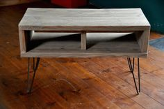 Reclaimed Wood Coffee Table TV Stand Hairpin Steel Legs by 7MAGOK