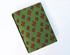 Cactus print A6 Hobonichi Cover. A6 Planner cover. A6 Notebook cover. Book jacket.