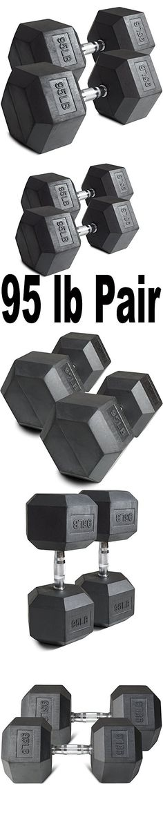 Pair 95 lb Black Rubber Coated Hex Dumbbells Weight Training Set 190 lb Fitness