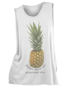 Sigma Delta Tau Pineapple Recruitment Muscle Tank by Adam Block Design | Custom Greek Apparel & Sorority Clothes | www.adamblockdesign.com