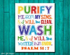 Psalms 51:7. Childrens Decor. Christian by LittleLifeDesigns