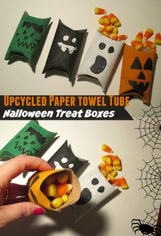 Upcycled Paper Towel Tube Halloween Treat Boxes - Fun Kids DIY Craft