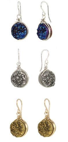 Spiked Drusy Earrings w/new color, bronze. Love these druzy earrings, bronze seen on The Vampire Diaries!