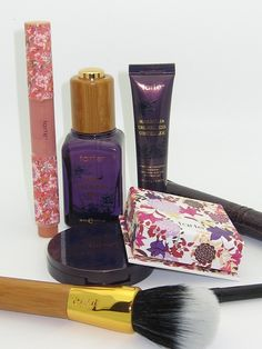 Tarte The Miracle of Maracuja Collection Review - I didn't like the gloss or the eye liner (smudges), I tossed the eye shadows, and haven't touched the cheek nor the brush.