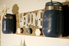 Welcome in Blues entryway decor hallway by PineknobsAndCrickets