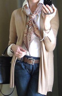 sweater + Hermes scarf