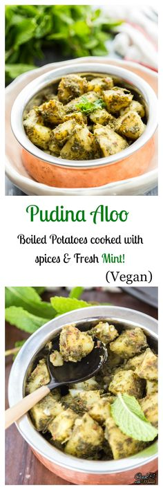 Pudina Aloo is a super easy Side Dish where boiled Potatoes are cooked with Spices and fresh Mint! Vegetable Side Dishes, Side Dishes Easy, Side Dish Recipes, Vegetable Recipes, Vegetarian Recipes, Healthy Recipes, Easy Delicious Dinner Recipes, Yummy Food, Best Indian Recipes