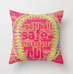 "@Jò in Wonderland Parkman For Sam! Throw Pillow 16"" x 16"" Baseball or Softball Your Call."