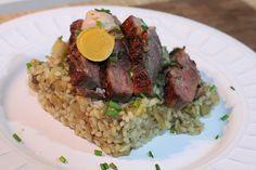Magret de pato a la plancha sobre risotto de manzana y setas - Recetasderechupete.com