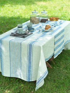 Blue Linen Tablecloth Tuscany