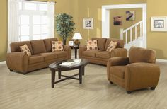 2 pc Sibley collection dark tan twill fabric upholstered sofa and love seat set with rounded arms and clean lines. The set includes the sofa and love seat with decorative throw accent pillows and features a Twill fabric, wood frame and webbed back constr New Furniture, Discount Furniture, Living Room Furniture, 3 Piece Living Room Set, Living Room Sets, Sofa And Loveseat Set, Sectional Sofa, Couch, Tan Leather Sectional