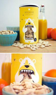 Packaging - Beehive Honey Squares / Designed by Lacy Kuhn Cereal Packaging, Cardboard Packaging, Food Packaging Design, Pretty Packaging, Packaging Design Inspiration, Brand Packaging, Graphic Design Inspiration, Branding Design, Biscuits Packaging