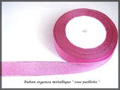 Ruban organza paillette fil métallique couleur rose glitter : Rubans par lapetiteboutiquepourlescreatifs