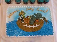 Noah's ark/football baby shower cake