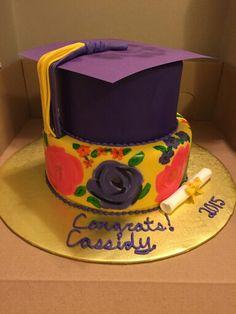 Painted Graduation Cake 6-7-15