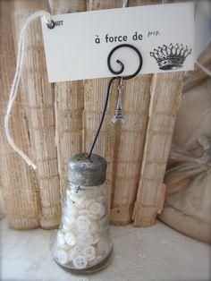 Vintage Etched Glass Salt Shaker Photo Holder - Place Card Holder. $15.00 USD, via Etsy.
