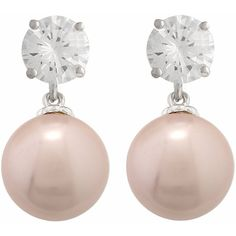 JanKuo Jewelry Rhodium Plated Pink Color Simulated Pearl with CZ... ($19) ❤ liked on Polyvore featuring jewelry, earrings, cz dangle earrings, pink earrings, rhodium plated jewelry, fake pearl earrings and faux pearl earrings
