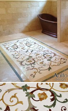 A subtle mix of onyx, quartzite, and marbles create this free-form floral for a client's well appointed master bath. Floor Design, Wall Design, House Design, Luxury Homes Interior, Home Interior Design, Mountain Dream Homes, Beautiful Interior Design, Floor Decor, Mosaic Glass