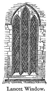 """Lancet Windows can be found frequently with stained glass in church architecture from the Gothic period and later in structures from the English Gothic revival. These windows are tall and narrow with a pointed arch at the top. They acquired the name """"lancet"""" because of their resemblance to a lance."""