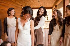 nice idea for bridesmaid style! I like the brown dress, cream sweater.