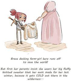 Adventures in Knitting http://annaflea.tumblr.com/ - ¡La valiente y elegante granjerita heroína corre a salvar el mundo!  Pero primero sus padres insisten en que lleve el suave y gran suéter de punto que su tía hizo para ella el pasado invierno, porque hace frío en la tierra salvaje.