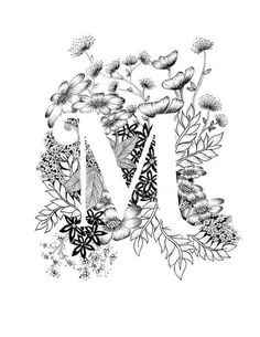 Art print van letter M met florale achtergrond. Geweldig cadeau! Message me voor aanpassingen of in opdracht van de stukken.  Zwart-wit inkt, meer letters van het alfabet binnenkort.