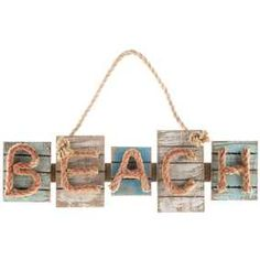 Beach Wood Plaque with Rope Letters_Rustic_Nautical Decor - Beach Cottage Decor Beach Wall Decor, Beach Cottage Decor, Wood Wall Decor, Coastal Decor, Beach Decor Bathroom, Beach Theme Garden, Beach Signs Wooden, Beach Wood, Shabby Chic Kranz