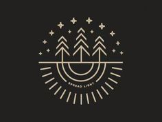 Spread Light sneak peak by Beth Sicheneder Cream on grey modern logo design using simple lines to depict three trees under the stars sky with roots underneath Branding. Logo Branding, 2 Logo, Badge Logo, Star Logo, Corporate Branding, Forest Logo, Camp Logo, Logo Simple, Restaurant Logo