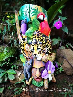 Jaguar mask, the hunting of the jaguar in the Costa Rica jungle, animals from Costa Rica, jaguar, ja Polymer Clay Animals, Polymer Clay Art, Amor Tattoo, Costa Rica Art, Mixed Media Boxes, Tribal Face, Paper Mache Clay, Animal Masks, Masks Art